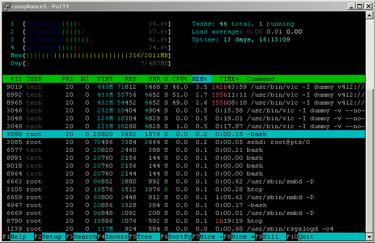 htop showing load